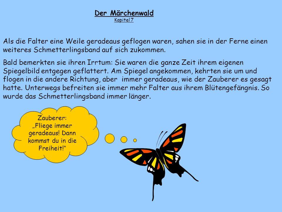 Der Schmetterling flog nach rechts und dann geradeaus. Wieder öffneten sich durch den Rhythmus seiner Flügel alle Blüten auf seiner Flugbahn und gaben