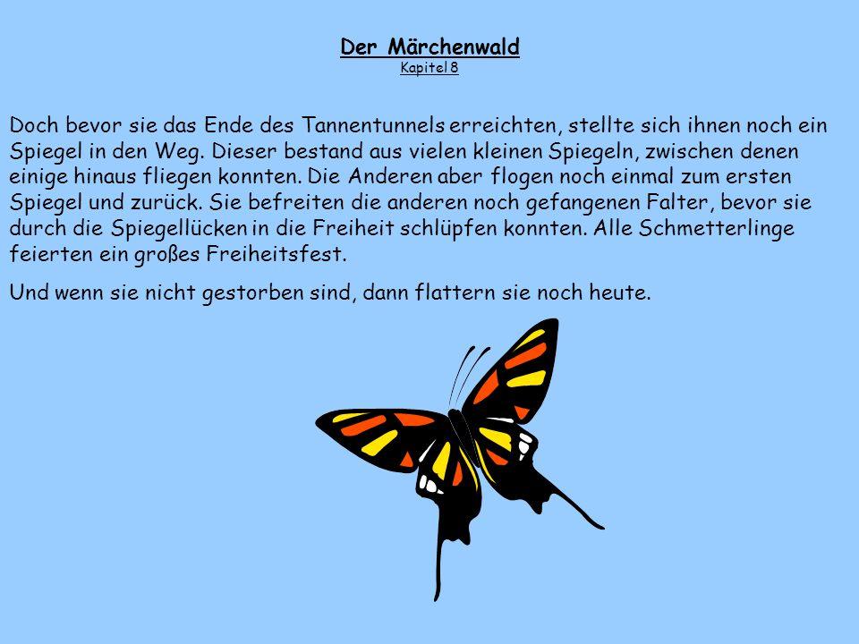Als die Falter eine Weile geradeaus geflogen waren, sahen sie in der Ferne einen weiteres Schmetterlingsband auf sich zukommen. Bald bemerkten sie ihr