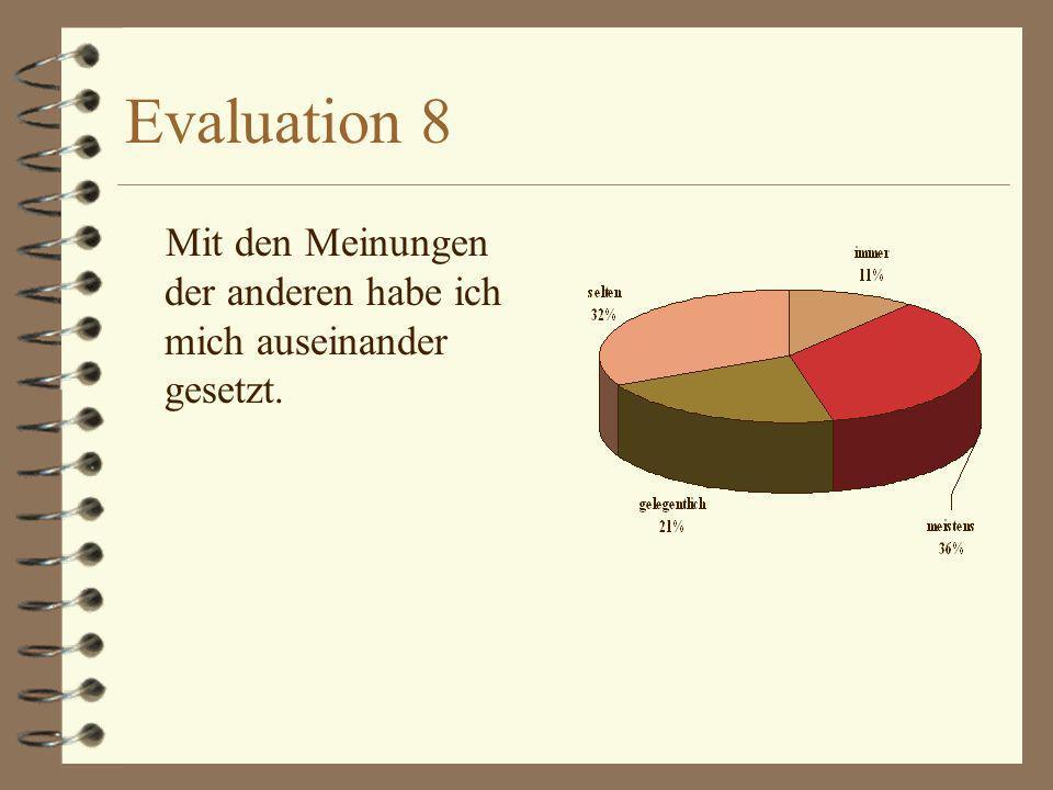 Evaluation 9 Mit dem Ergebnis der Gruppenarbeit bin ich zufrieden Die Arbeit in der Gruppe hat mir Spaß gemacht.