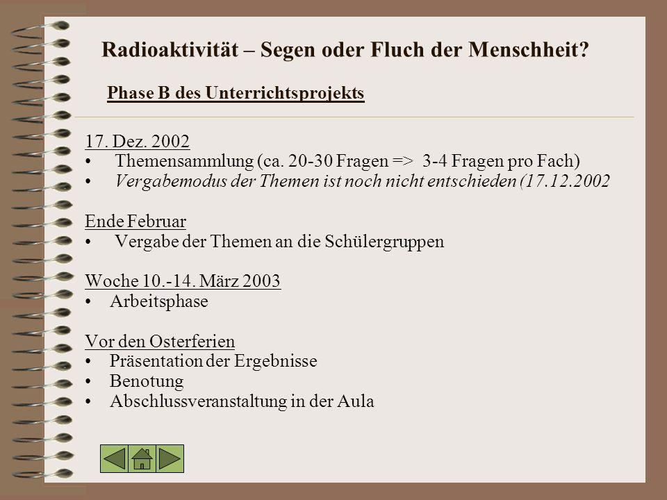 Radioaktivität – Segen oder Fluch der Menschheit.Phase B des Unterrichtsprojekts 17.