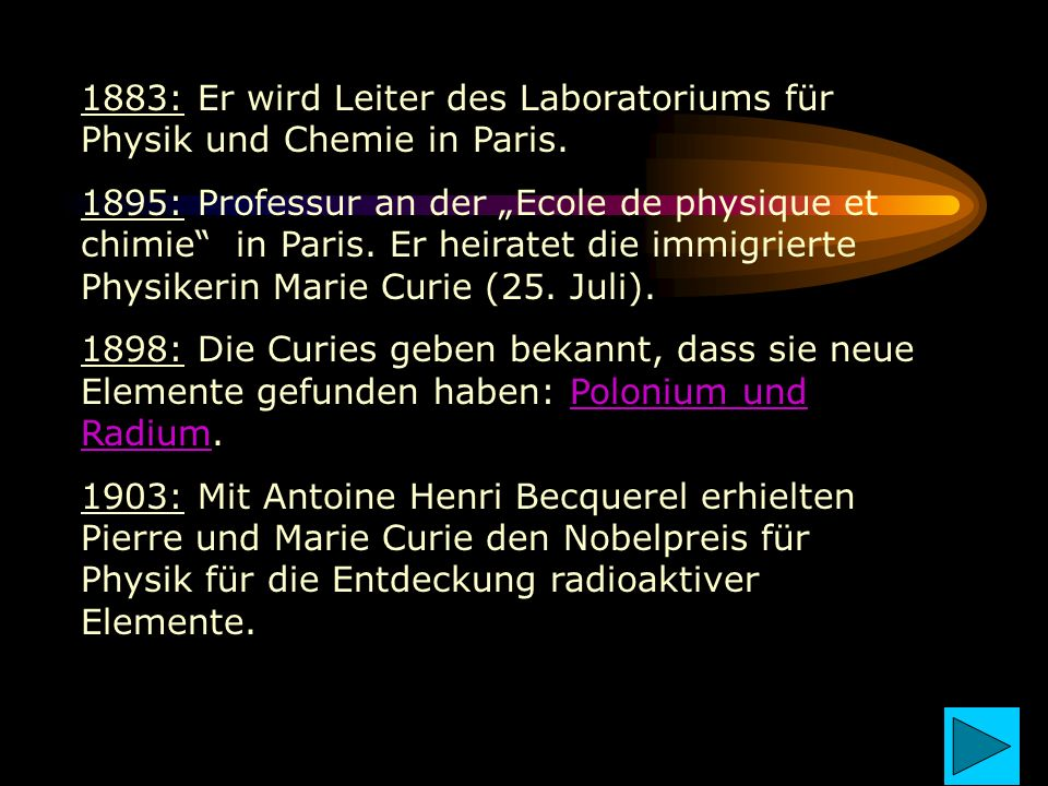 1883: Er wird Leiter des Laboratoriums für Physik und Chemie in Paris. 1895: Professur an der Ecole de physique et chimie in Paris. Er heiratet die im