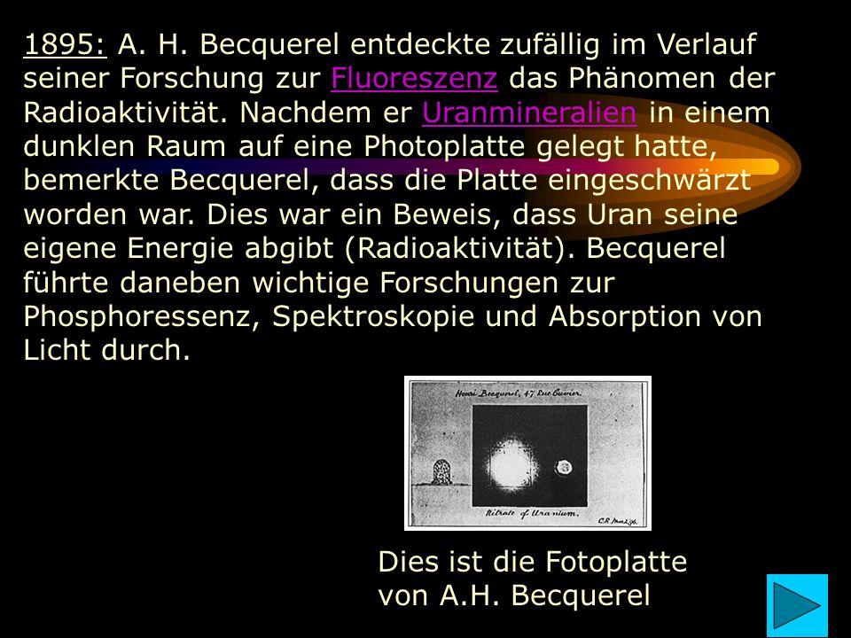 1895: A. H. Becquerel entdeckte zufällig im Verlauf seiner Forschung zur Fluoreszenz das Phänomen der Radioaktivität. Nachdem er Uranmineralien in ein