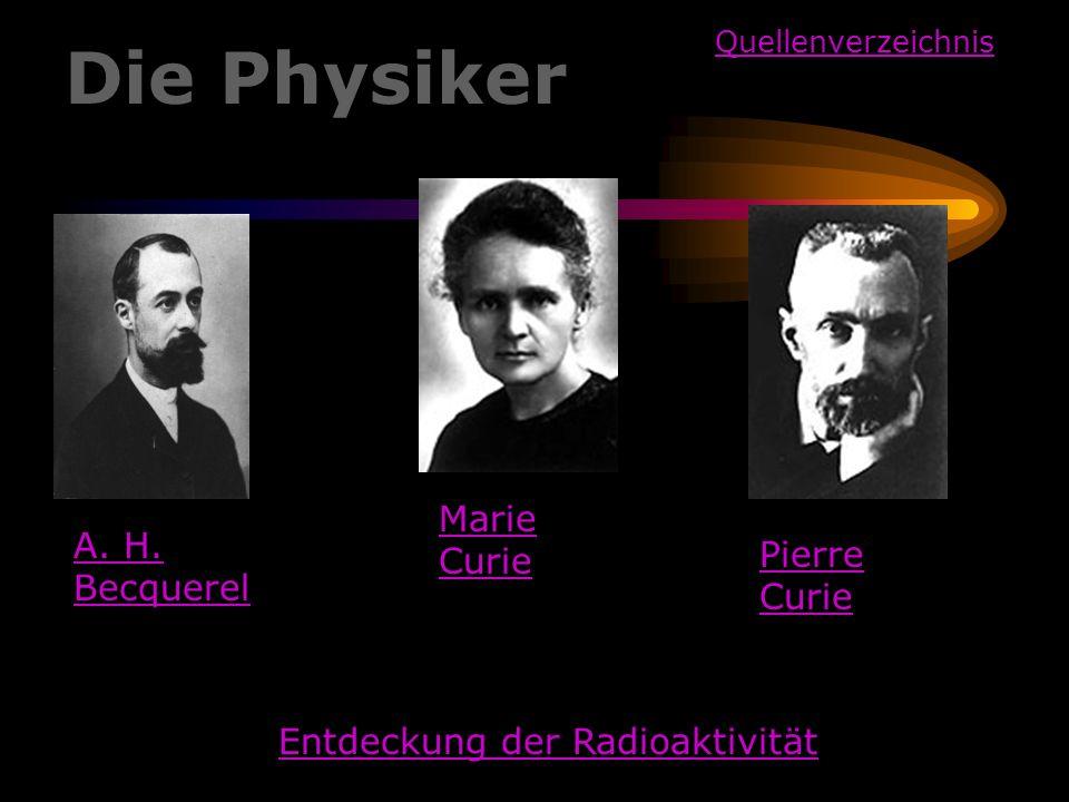 Marie Curie Pierre Curie A. H. Becquerel Die Physiker Entdeckung der Radioaktivität Quellenverzeichnis