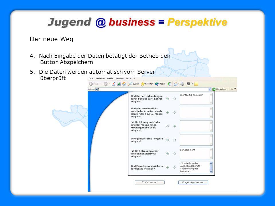 Jugend @ business = Perspektive Der neue Weg 4. Nach Eingabe der Daten betätigt der Betrieb den Button Abspeichern 5. Die Daten werden automatisch vom