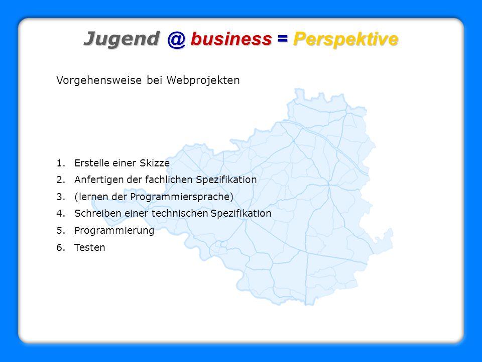 Jugend @ business = Perspektive Vorgehensweise bei Webprojekten 1.Erstelle einer Skizze 2.Anfertigen der fachlichen Spezifikation 3.(lernen der Progra