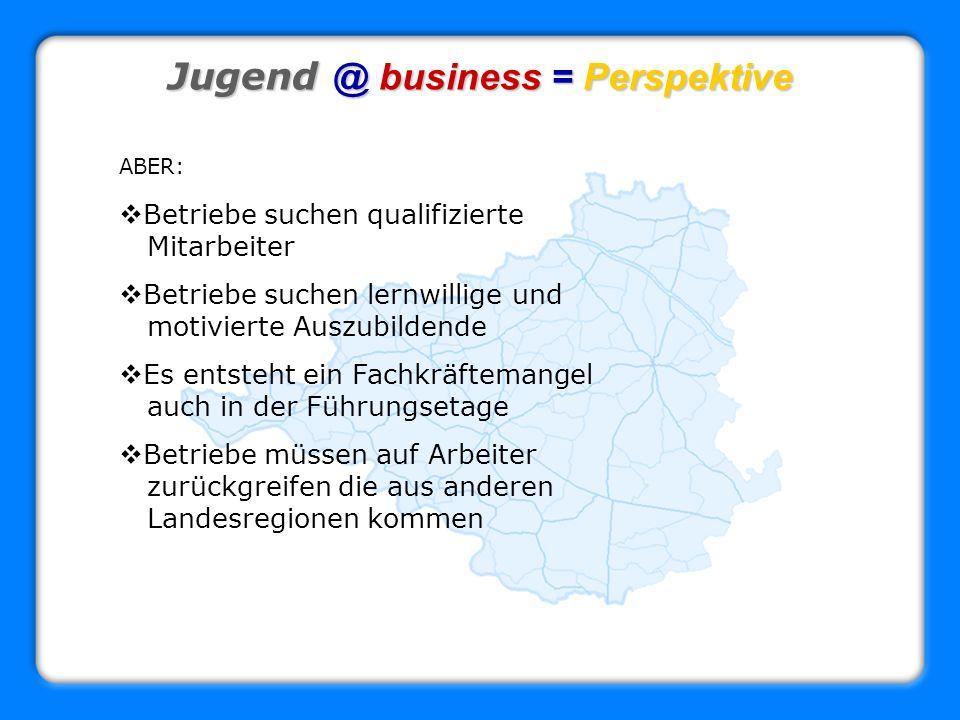 Jugend @ business = Perspektive ABER: Betriebe suchen qualifizierte Mitarbeiter Betriebe suchen lernwillige und motivierte Auszubildende Es entsteht e