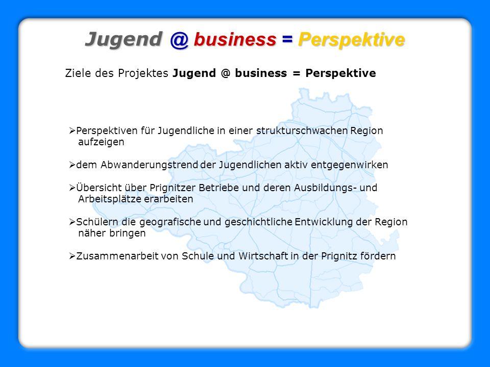 Jugend @ business = Perspektive Ziele des Projektes Jugend @ business = Perspektive Perspektiven für Jugendliche in einer strukturschwachen Region auf