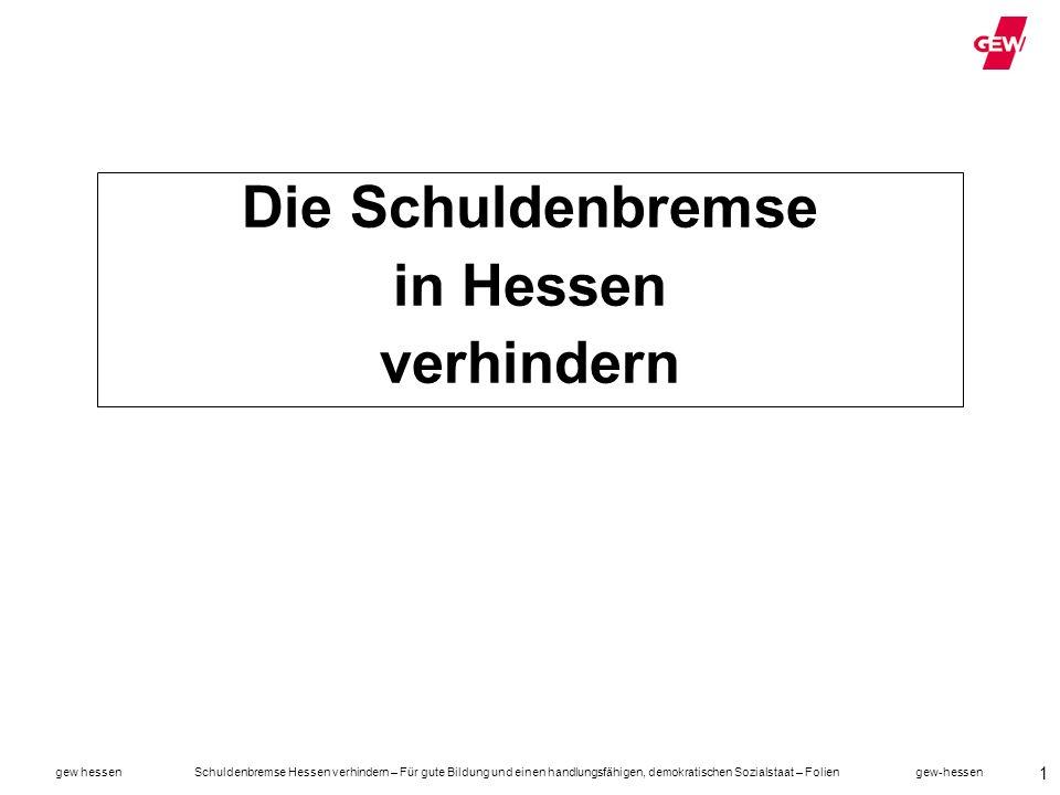 gew hessen Schuldenbremse Hessen verhindern – Für gute Bildung und einen handlungsfähigen, demokratischen Sozialstaat – Folien gew-hessen 22 Bundestag und Bundesrat beschließen Schuldenbremse Im Mai 2009 stimmt der Bundestag mit 2/3 Mehrheit für die Aufnahme einer Schuldenbremse ins Grundgesetz Im Juni 2009 stimmt auch der Bundesrat zu.