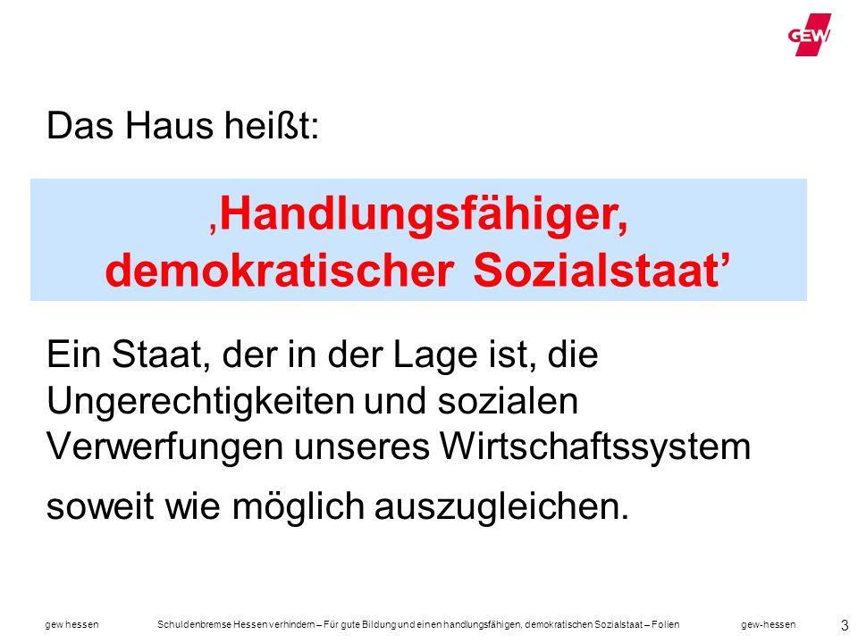 gew hessen Schuldenbremse Hessen verhindern – Für gute Bildung und einen handlungsfähigen, demokratischen Sozialstaat – Folien gew-hessen 14 … und gleichzeitig den Sozialstaat abgebaut.
