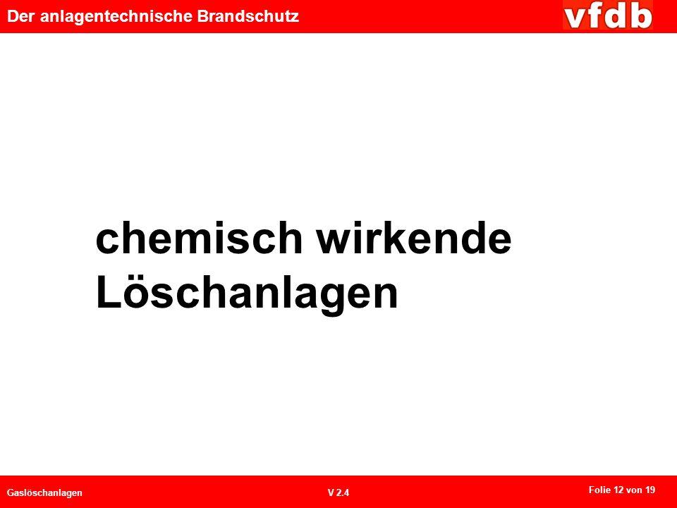 Der anlagentechnische Brandschutz GaslöschanlagenV 2.4 chemisch wirkende Löschanlagen Folie 12 von 19