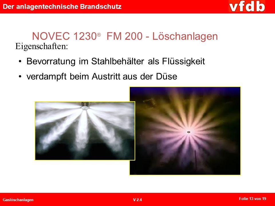Der anlagentechnische Brandschutz GaslöschanlagenV 2.4 NOVEC 1230 ® FM 200 - Löschanlagen Eigenschaften: Bevorratung im Stahlbehälter als Flüssigkeit