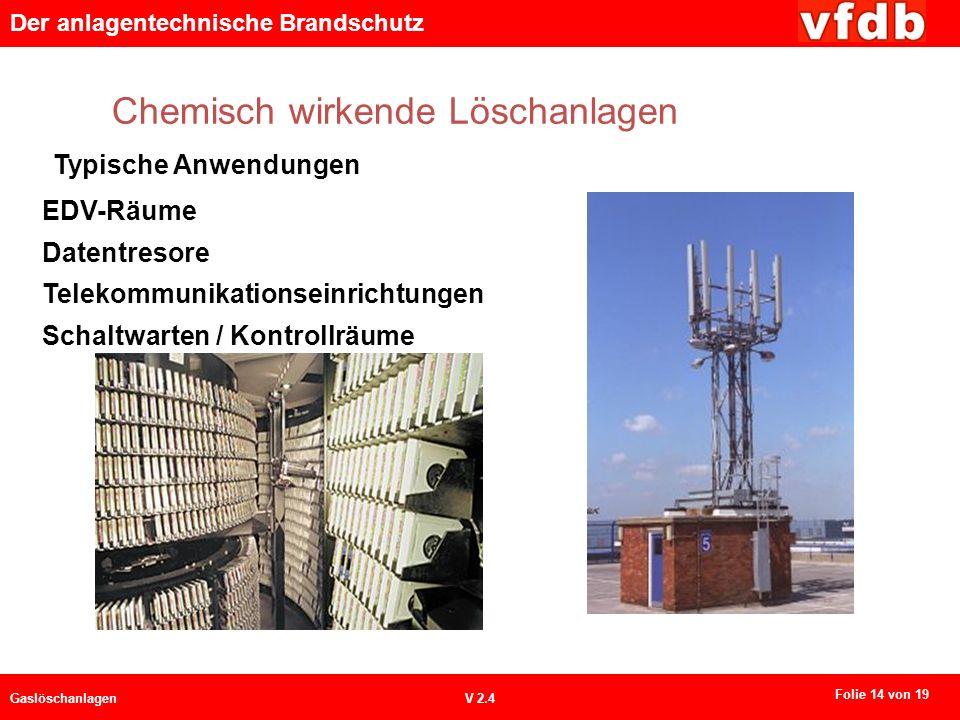 Der anlagentechnische Brandschutz GaslöschanlagenV 2.4 Chemisch wirkende Löschanlagen Typische Anwendungen EDV-Räume Datentresore Telekommunikationseinrichtungen Schaltwarten / Kontrollräume Folie 14 von 19