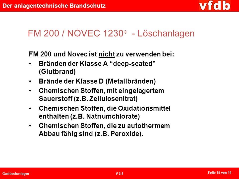 Der anlagentechnische Brandschutz GaslöschanlagenV 2.4 FM 200 / NOVEC 1230 ® - Löschanlagen FM 200 und Novec ist nicht zu verwenden bei: Bränden der K