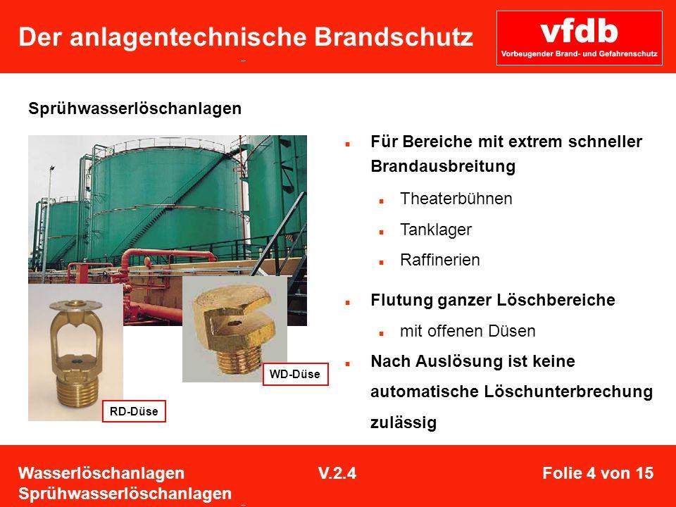 Der anlagentechnische Brandschutz Sprühwasserlöschanlagen RD-Düse WD-Düse Für Bereiche mit extrem schneller Brandausbreitung Theaterbühnen Tanklager R