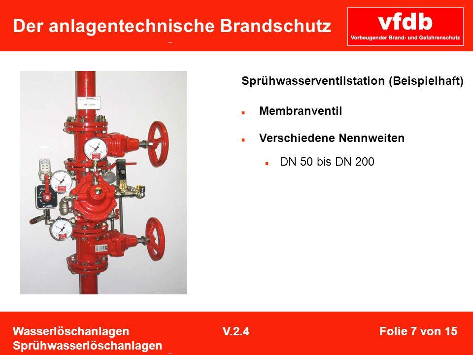 Der anlagentechnische Brandschutz Sprühwasserventilstation (Beispielhaft) Membranventil Verschiedene Nennweiten DN 50 bis DN 200 Wasserlöschanlagen Sp