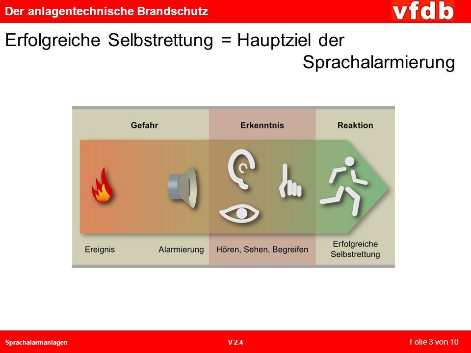 Der anlagentechnische Brandschutz SprachalarmanlagenV 2.4 Erfolgreiche Selbstrettung = Hauptziel der Sprachalarmierung Folie 3 von 10