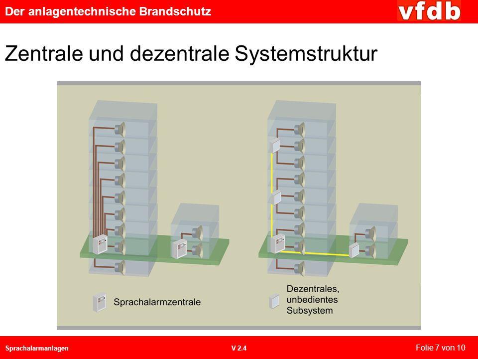 Der anlagentechnische Brandschutz SprachalarmanlagenV 2.4 Zentrale und dezentrale Systemstruktur Folie 7 von 10