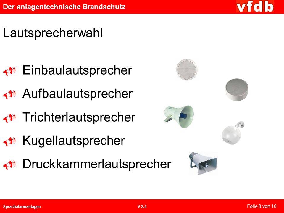 Der anlagentechnische Brandschutz SprachalarmanlagenV 2.4 Lautsprecherwahl Einbaulautsprecher Aufbaulautsprecher Trichterlautsprecher Kugellautspreche