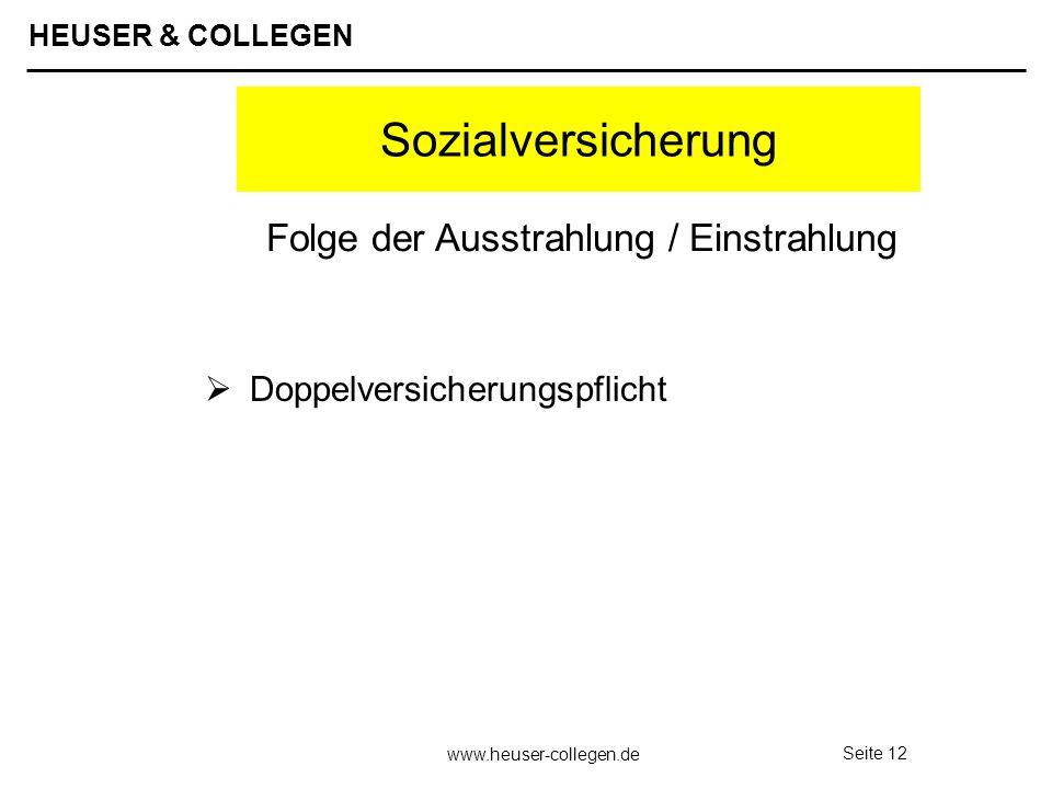HEUSER & COLLEGEN www.heuser-collegen.de Seite 12 Sozialversicherung Doppelversicherungspflicht Folge der Ausstrahlung / Einstrahlung