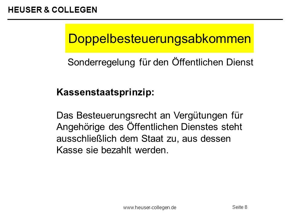 HEUSER & COLLEGEN www.heuser-collegen.de Seite 9 Sozialversicherung Territorialprinzip Ausstrahlung / Einstrahlung Doppelversicherungspflicht Vermeidung durch Sozialversicherungsabkommen EWG-VO 1408/71 bilaterale Sozialversicherungs- abkommen Sonderregelungen Öffentlicher Dienst