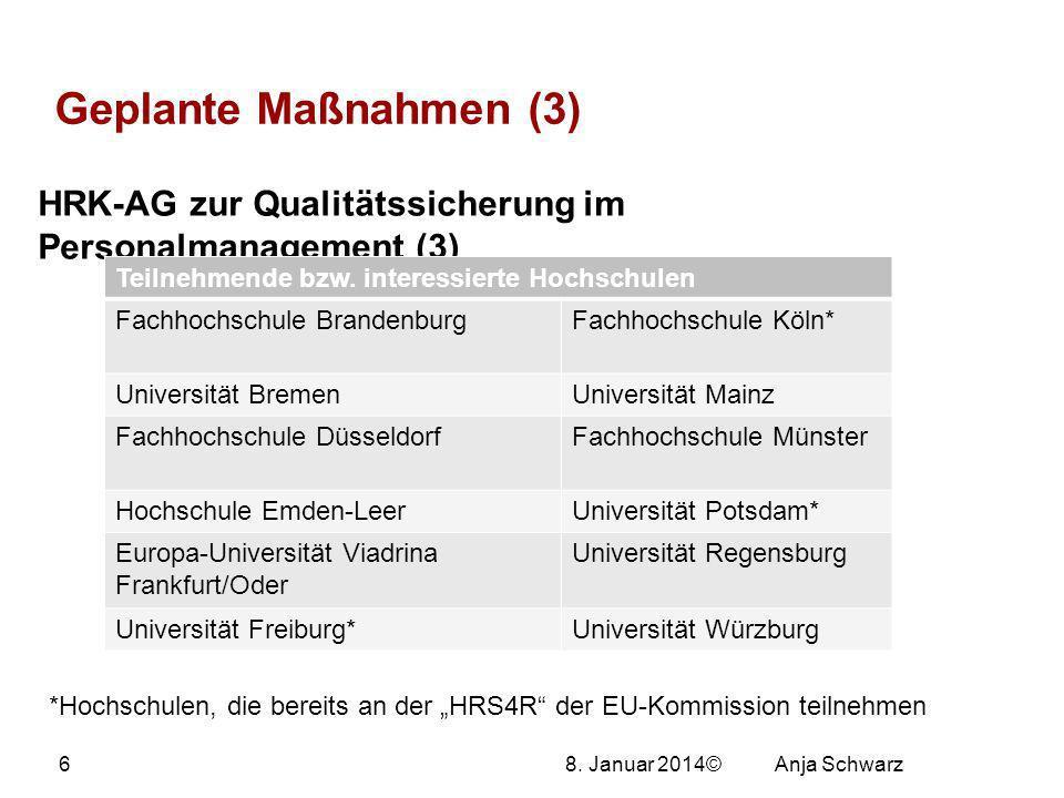 8. Januar 2014© Geplante Maßnahmen (3) HRK-AG zur Qualitätssicherung im Personalmanagement (3) Teilnehmende bzw. interessierte Hochschulen Fachhochsch
