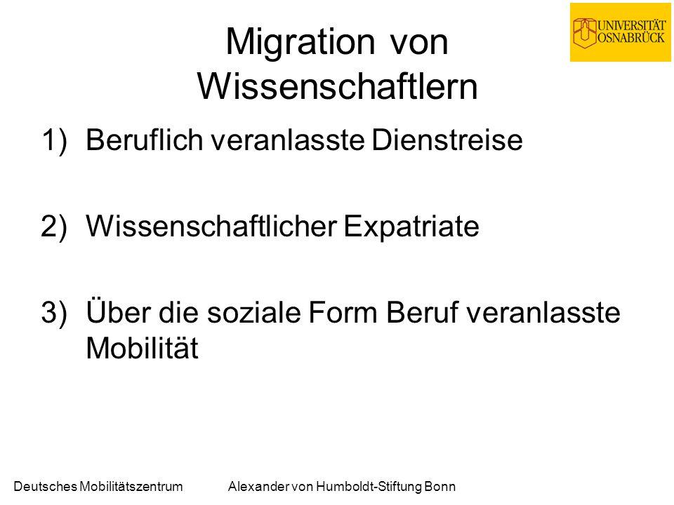 Deutsches MobilitätszentrumAlexander von Humboldt-Stiftung Bonn Beruflich veranlasste Dienstreise Nicht als Migration verstanden.