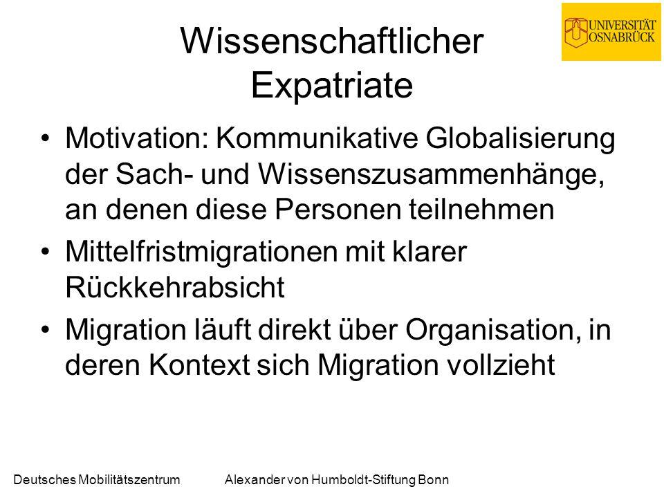 Deutsches MobilitätszentrumAlexander von Humboldt-Stiftung Bonn Wissenschaftlicher Expatriate Motivation: Kommunikative Globalisierung der Sach- und Wissenszusammenhänge, an denen diese Personen teilnehmen Mittelfristmigrationen mit klarer Rückkehrabsicht Migration läuft direkt über Organisation, in deren Kontext sich Migration vollzieht