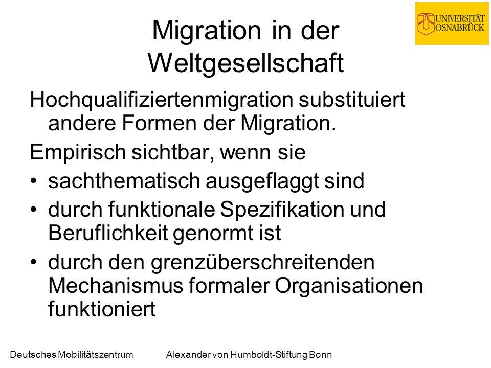 Deutsches MobilitätszentrumAlexander von Humboldt-Stiftung Bonn Migration in der Weltgesellschaft Hochqualifiziertenmigration substituiert andere Formen der Migration.