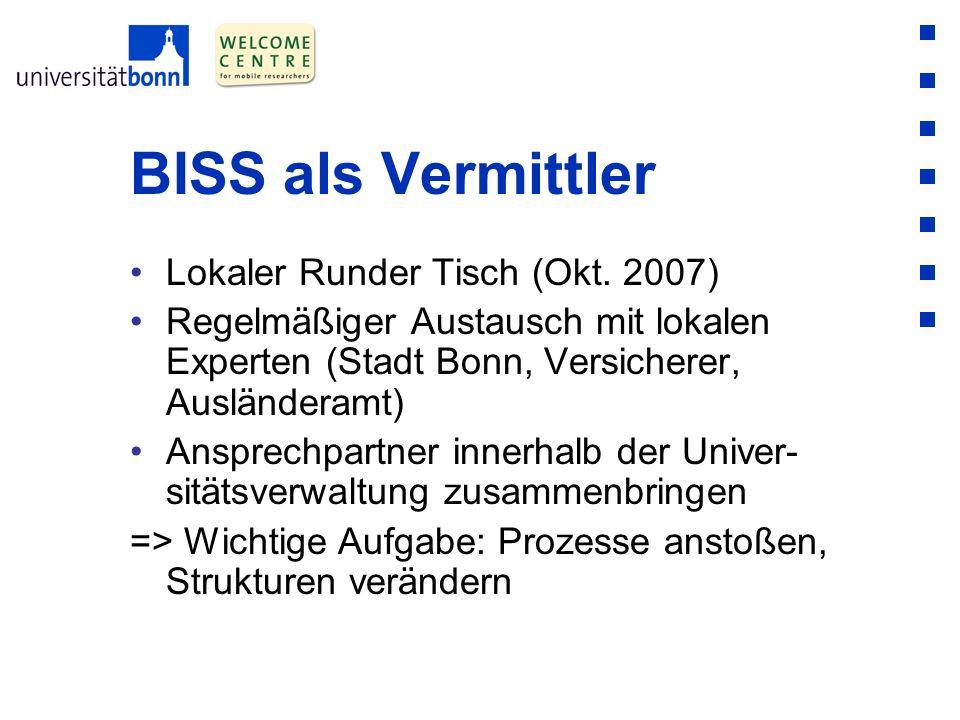 BISS als Vermittler Lokaler Runder Tisch (Okt. 2007) Regelmäßiger Austausch mit lokalen Experten (Stadt Bonn, Versicherer, Ausländeramt) Ansprechpartn