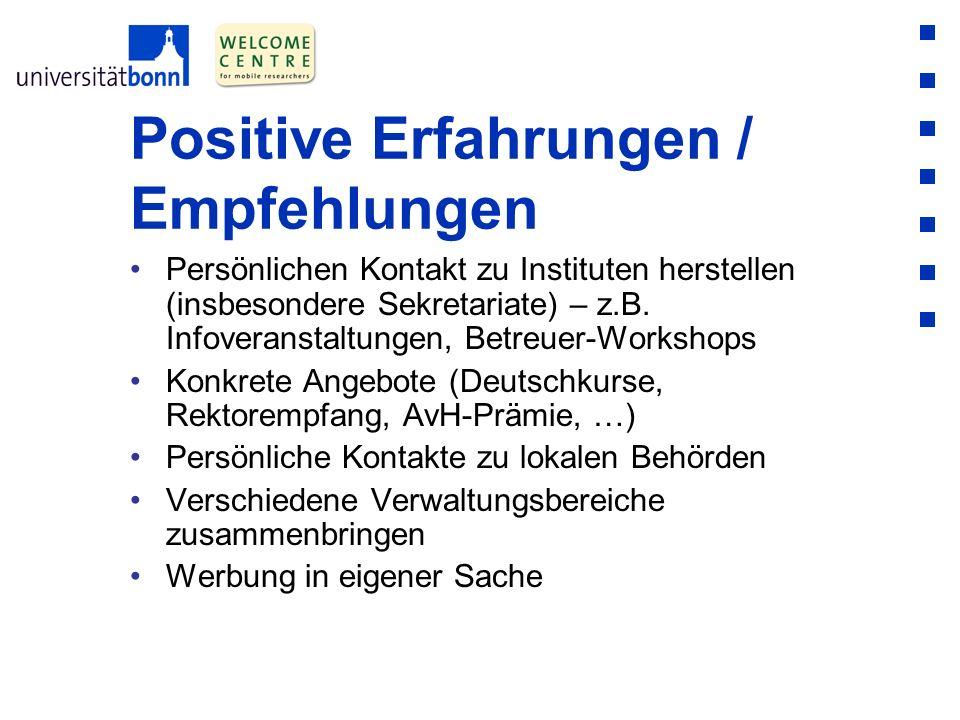 Positive Erfahrungen / Empfehlungen Persönlichen Kontakt zu Instituten herstellen (insbesondere Sekretariate) – z.B. Infoveranstaltungen, Betreuer-Wor