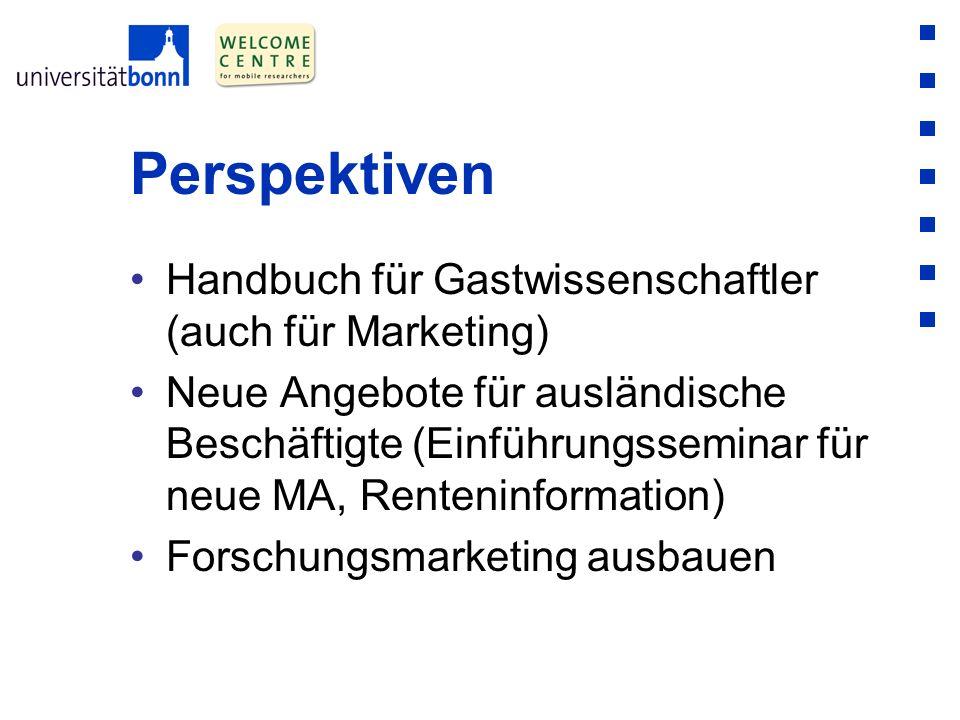 Perspektiven Handbuch für Gastwissenschaftler (auch für Marketing) Neue Angebote für ausländische Beschäftigte (Einführungsseminar für neue MA, Renten