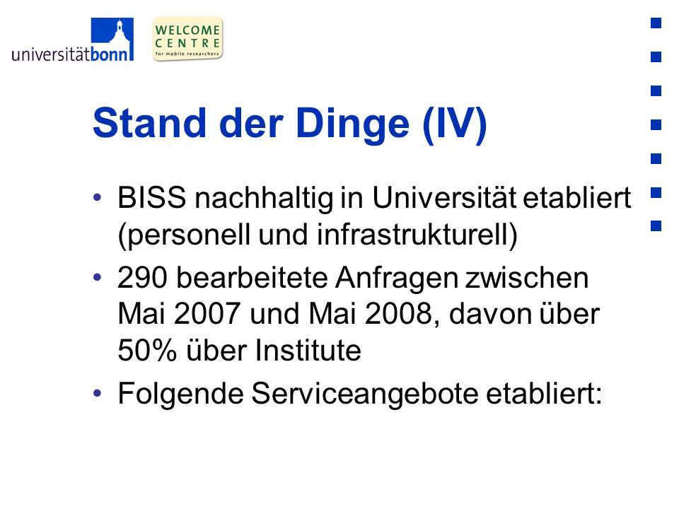 Stand der Dinge (IV) BISS nachhaltig in Universität etabliert (personell und infrastrukturell) 290 bearbeitete Anfragen zwischen Mai 2007 und Mai 2008