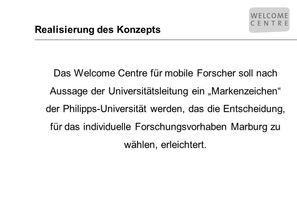 Realisierung des Konzepts Das Welcome Centre für mobile Forscher soll nach Aussage der Universitätsleitung ein Markenzeichen der Philipps-Universität werden, das die Entscheidung, für das individuelle Forschungsvorhaben Marburg zu wählen, erleichtert.