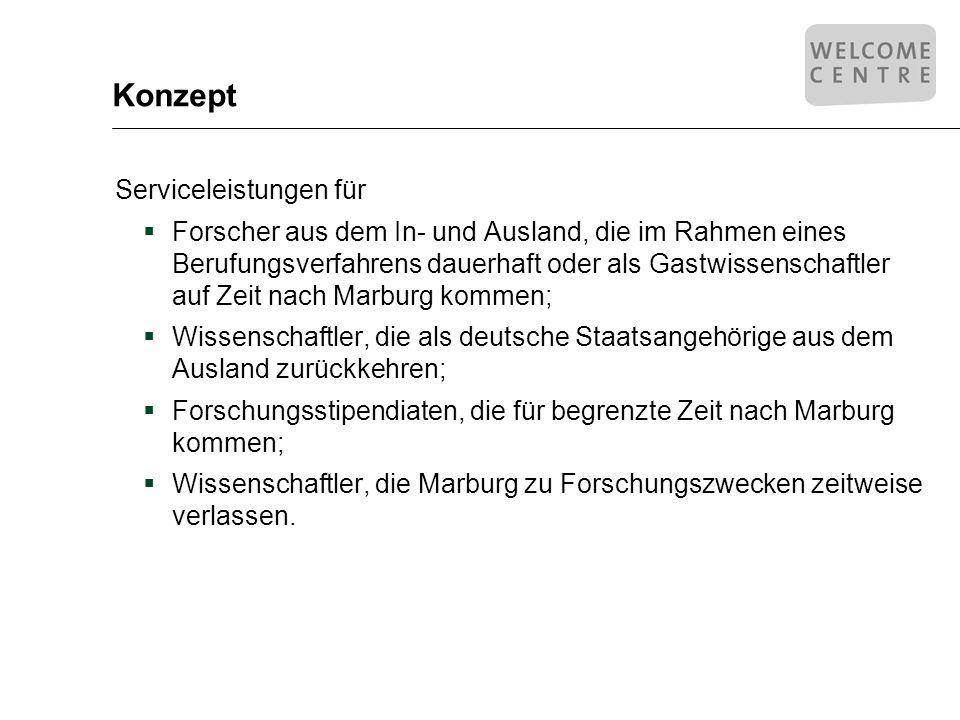 Konzept Serviceleistungen zur Unterstützung bei der Vorbereitung der Einreise nach Deutschland; bei der Erledigung von Formalitäten bei der Ankunft und während des Aufenthaltes in Marburg; bei der Rückreise in das Heimatland und Nachbetreuung.