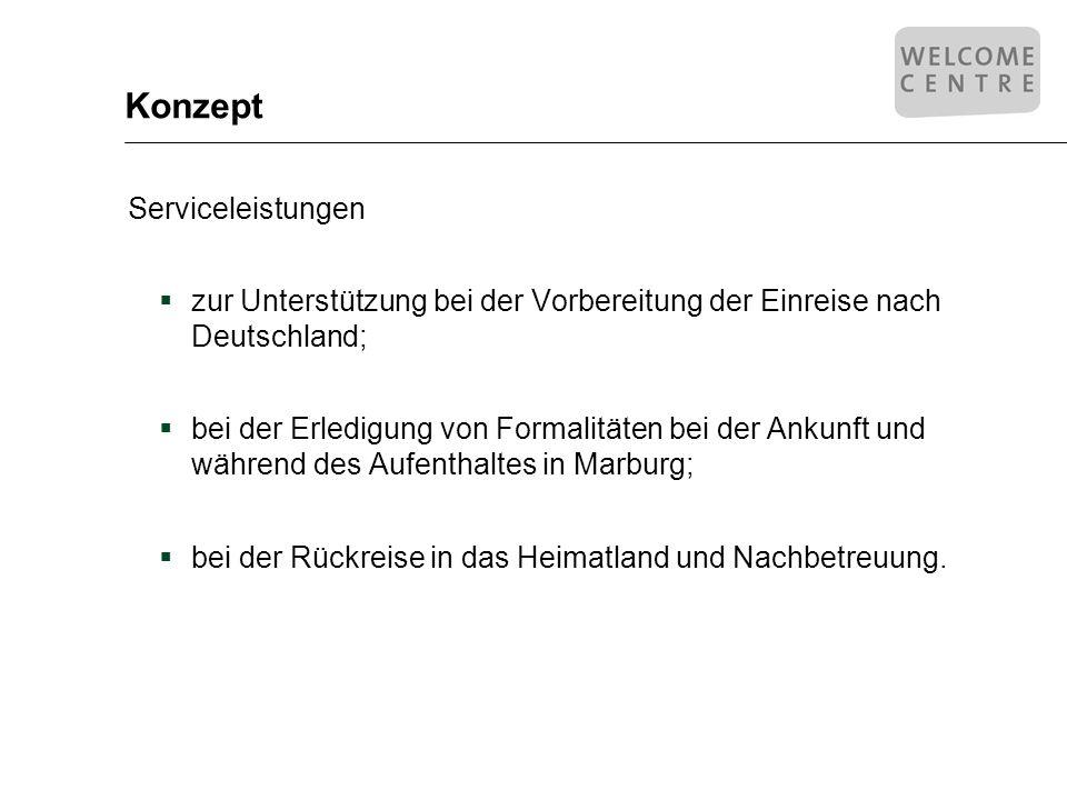 Konzept Serviceleistungen zur Unterstützung bei der Vorbereitung der Einreise nach Deutschland; bei der Erledigung von Formalitäten bei der Ankunft un