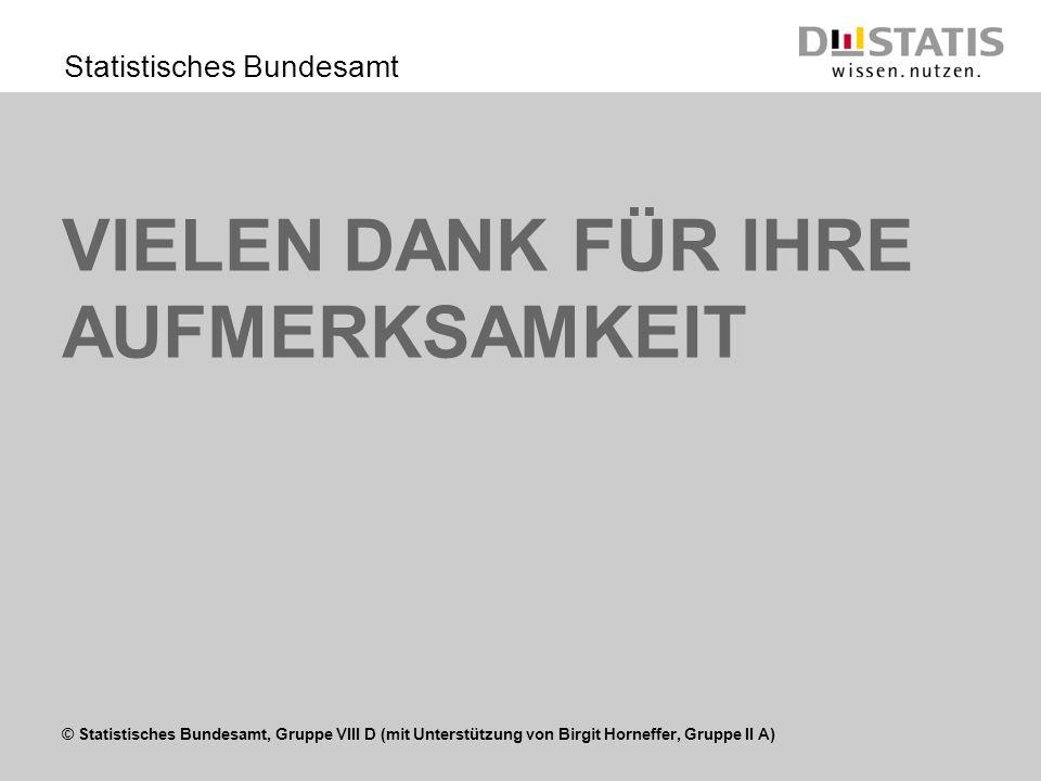 © Statistisches Bundesamt, Gruppe VIII D (mit Unterstützung von Birgit Horneffer, Gruppe II A) Statistisches Bundesamt VIELEN DANK FÜR IHRE AUFMERKSAM