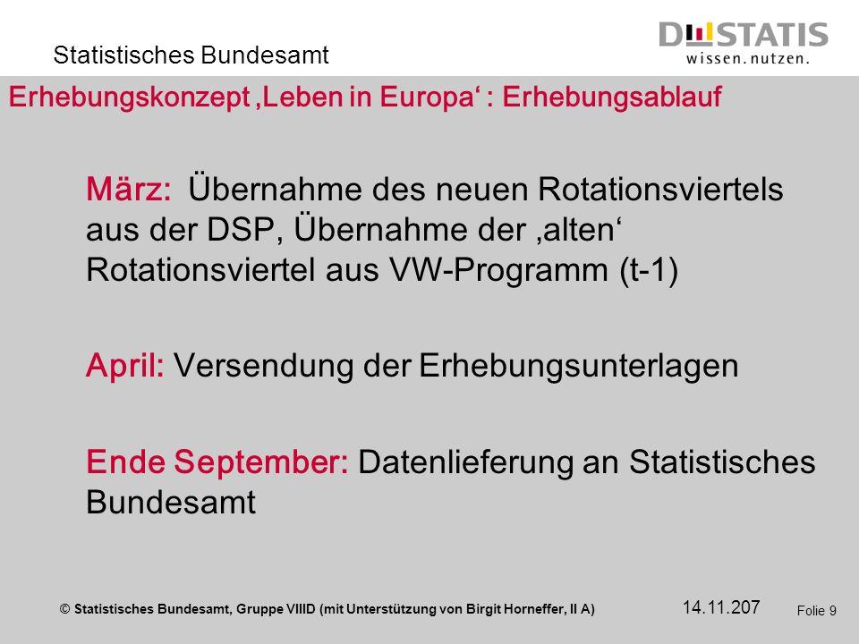 © Statistisches Bundesamt, Gruppe VIIID (mit Unterstützung von Birgit Horneffer, II A) Statistisches Bundesamt 14.11.207 Folie 9 Erhebungskonzept Lebe