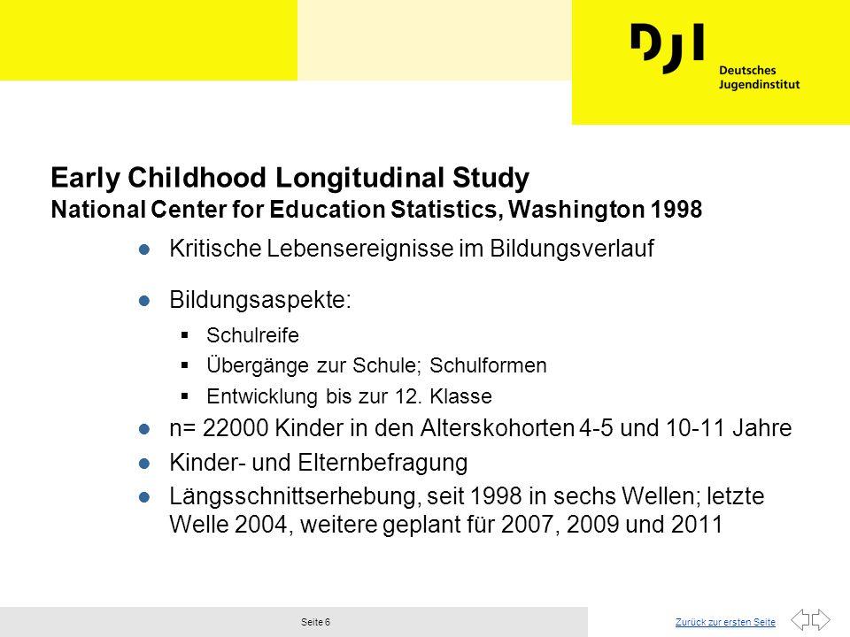 Zurück zur ersten SeiteSeite 6 Early Childhood Longitudinal Study National Center for Education Statistics, Washington 1998 l Kritische Lebensereignisse im Bildungsverlauf l Bildungsaspekte: Schulreife Übergänge zur Schule; Schulformen Entwicklung bis zur 12.