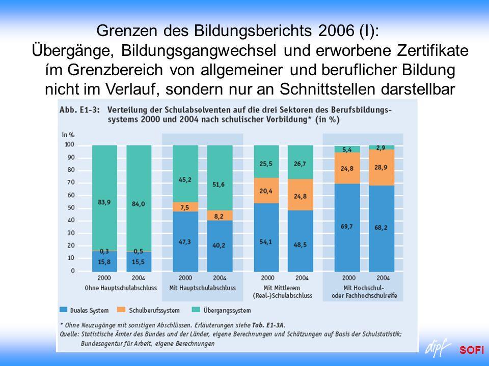 SOFI Grenzen des Bildungsberichts 2006 (I): Übergänge, Bildungsgangwechsel und erworbene Zertifikate ím Grenzbereich von allgemeiner und beruflicher B