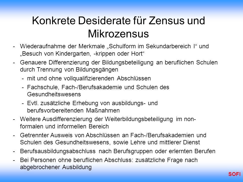 SOFI Konkrete Desiderate für Zensus und Mikrozensus - Wiederaufnahme der Merkmale Schulform im Sekundarbereich I und Besuch von Kindergarten, -krippen