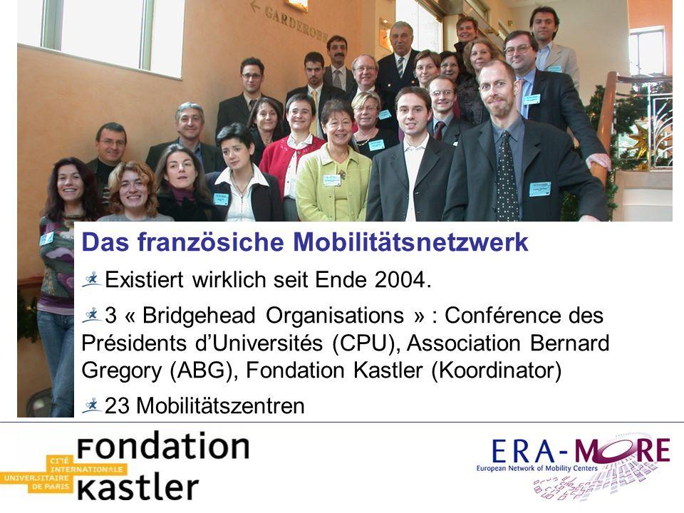 Das französiche Mobilitätsnetzwerk Existiert wirklich seit Ende 2004. 3 « Bridgehead Organisations » : Conférence des Présidents dUniversités (CPU), A
