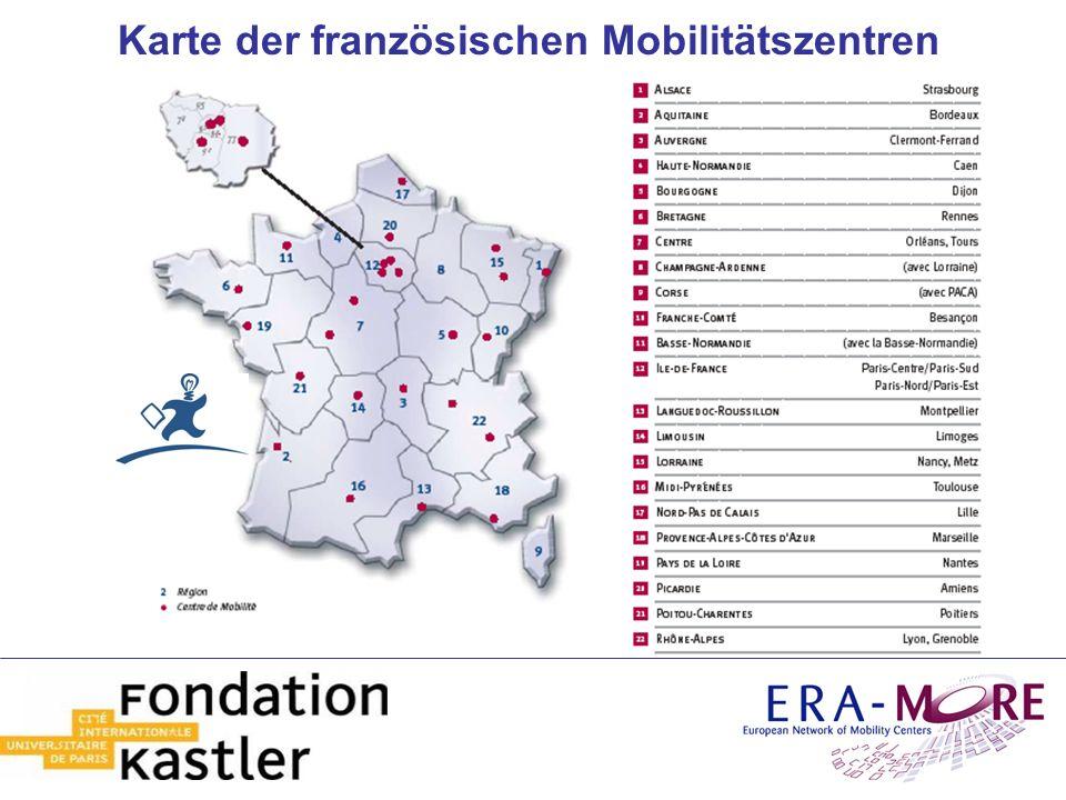 Karte der französischen Mobilitätszentren