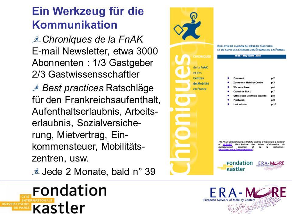 Ein Werkzeug für die Kommunikation Chroniques de la FnAK E-mail Newsletter, etwa 3000 Abonnenten : 1/3 Gastgeber 2/3 Gastwissensschaftler Best practic