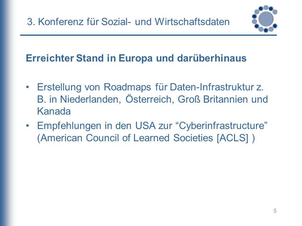 5 3. Konferenz für Sozial- und Wirtschaftsdaten Erreichter Stand in Europa und darüberhinaus Erstellung von Roadmaps für Daten-Infrastruktur z. B. in
