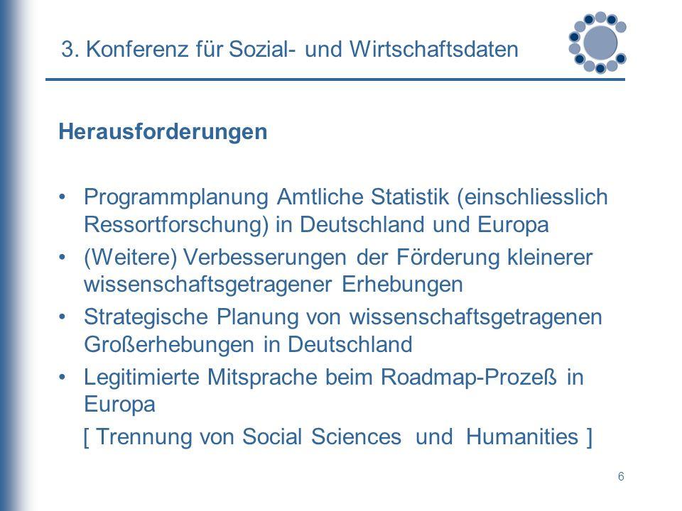 6 3. Konferenz für Sozial- und Wirtschaftsdaten Herausforderungen Programmplanung Amtliche Statistik (einschliesslich Ressortforschung) in Deutschland
