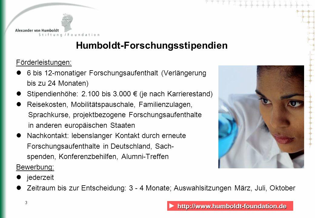 http://www.humboldt-foundation.de http://www.humboldt-foundation.de 3 Humboldt-Forschungsstipendien Förderleistungen: 6 bis 12-monatiger Forschungsauf