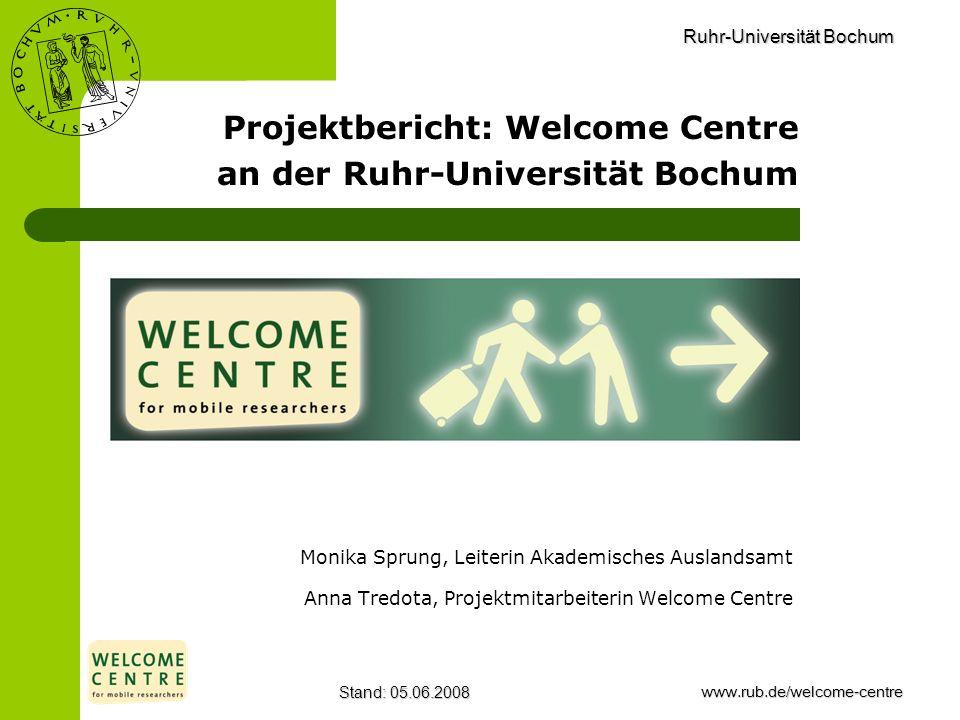 Ruhr-Universität Bochum Stand: 05.06.2008www.rub.de/welcome-centre Monika Sprung, Leiterin Akademisches Auslandsamt Anna Tredota, Projektmitarbeiterin