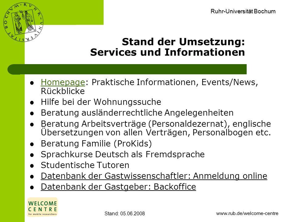 Ruhr-Universität Bochum Stand: 05.06.2008www.rub.de/welcome-centre Stand der Umsetzung: Services und Informationen Homepage: Praktische Informationen,