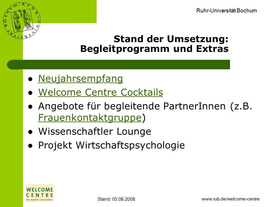Ruhr-Universität Bochum Stand: 05.06.2008www.rub.de/welcome-centre Stand der Umsetzung: Begleitprogramm und Extras Neujahrsempfang Welcome Centre Cock