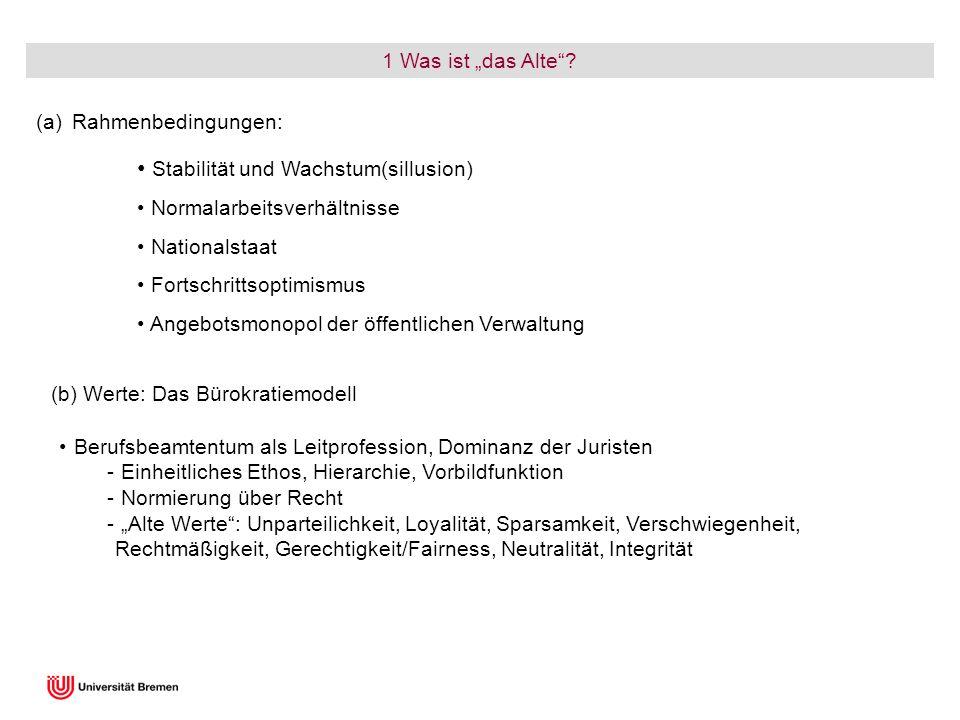 1 Was ist das Alte? (a)Rahmenbedingungen: Berufsbeamtentum als Leitprofession, Dominanz der Juristen - Einheitliches Ethos, Hierarchie, Vorbildfunktio